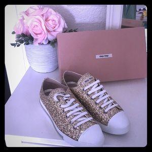Authentic miu miu gold glitter sneakers
